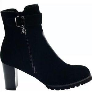 Blondo Black Leather Suede Anik Heel Boots